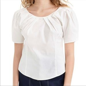 NWT J.Crew pleat scoop neck white blouse